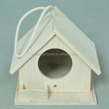 Home pet products handmade wooden canary bird cage with rope