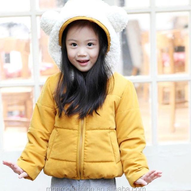monroo cute bear design kids coat with big hoody