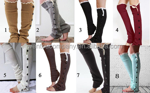 Wholesale Vintage Rose Cable Knit Button Down Women Boot Socks