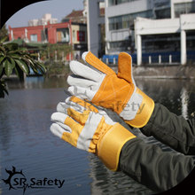 SRSAFETY High quality cow split leather gloves/cowhide gloves docker gloves