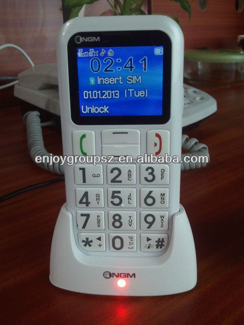 cell phone for Old age people W60 large keyboard 2 sim card bluetooth / sos / fm radio / color screen /quadband phone