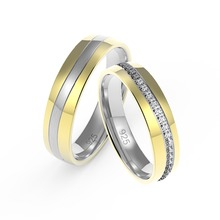 925 silver 14K gold rhodium plated couple wedding rings