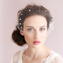 Beaded pearl wedding personalized lace netting vintage ladies birdcage bridal face veil