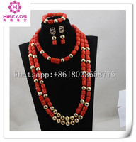 Luxury Wedding Women Coral Beads Jewelry Set 28inches Long Beaded Statement Necklace Set Dubai Gold Free Shipping