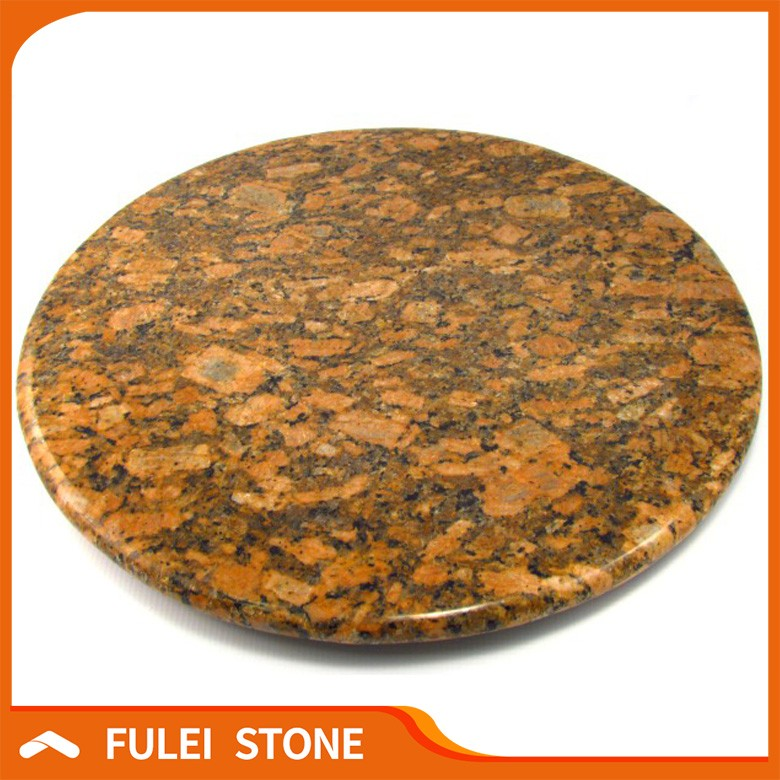 prefabricated Giallo Fiorito Granite Round Stone Top Dining Tables