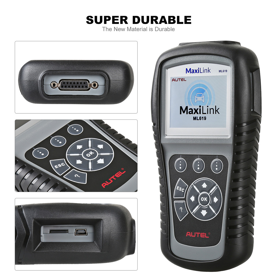 Color Display AUTEL MaxiLink ML619 Turns off Check Engine Light (MIL)&ABS/SRS Warning Lights OBDII Car Diagnostic Tool