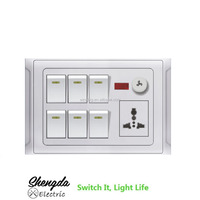 6 Gang Wall Switch MF Socket And Neon Led Light One Dimmer Electrical Product