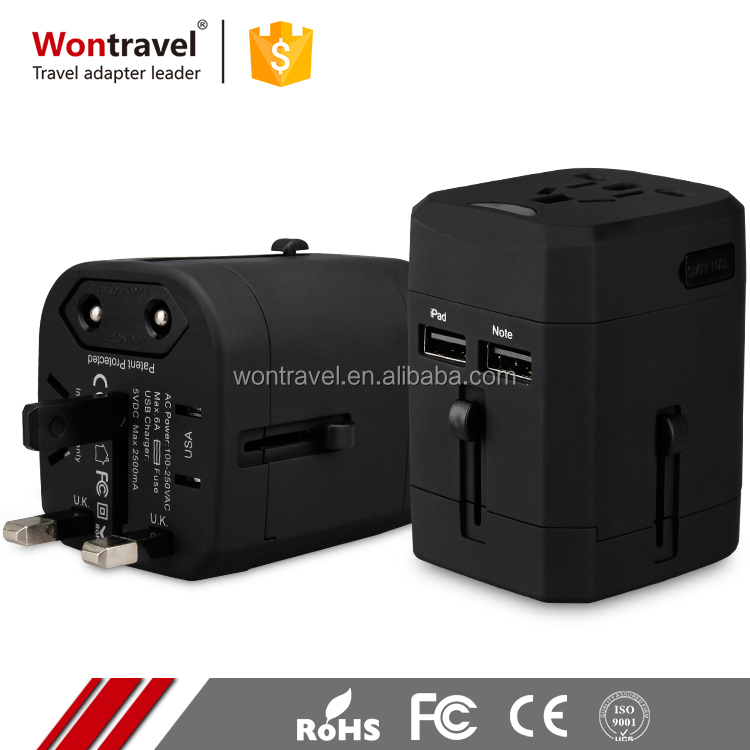 Thailand Malaysia Worldwide Top Selling Universal Adaptor Safety Dual USB Plug Charger Travel Adapter