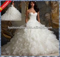 Luxury Sweetheart embroidered beaded bodices bridal wedding gowns vestidos de noivas 2014 sexy