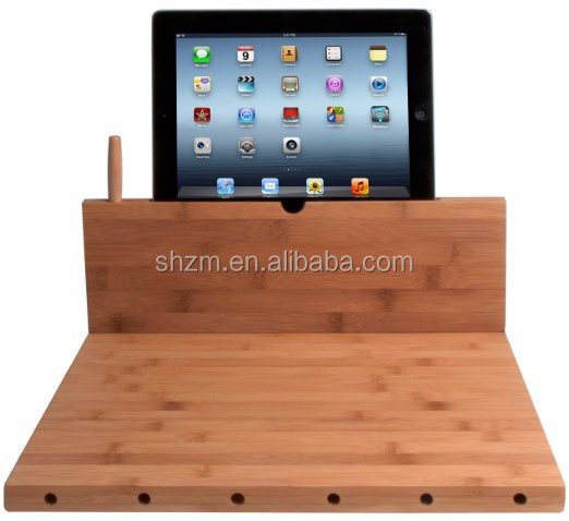 Bamboo Cutting Board with iPad Stand, Stylus and Knife Storage