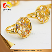 China wholesale jewerly !Round shape gold plated brass ring for women