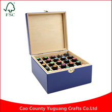 Custom Travel and Presentations Royal Blue Popular Carrying Case Great Gift 25 grids Wooden Essential Oil Box