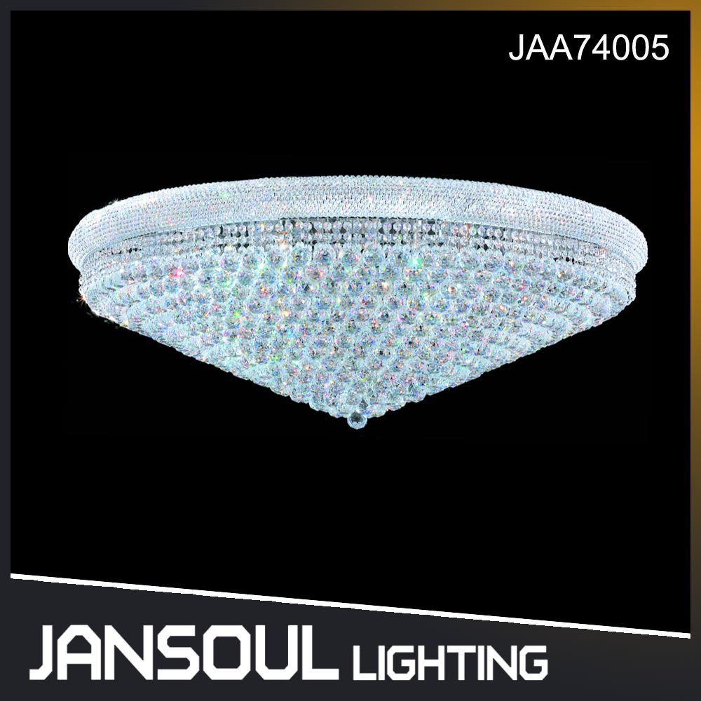 JANSOUL official flush mount round clear crystal chandelier ceiling light