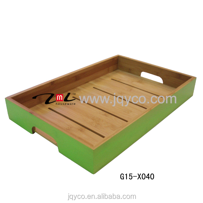 promotional dinner tray,bamboo fruit tray, cultery serving trays with customized painting