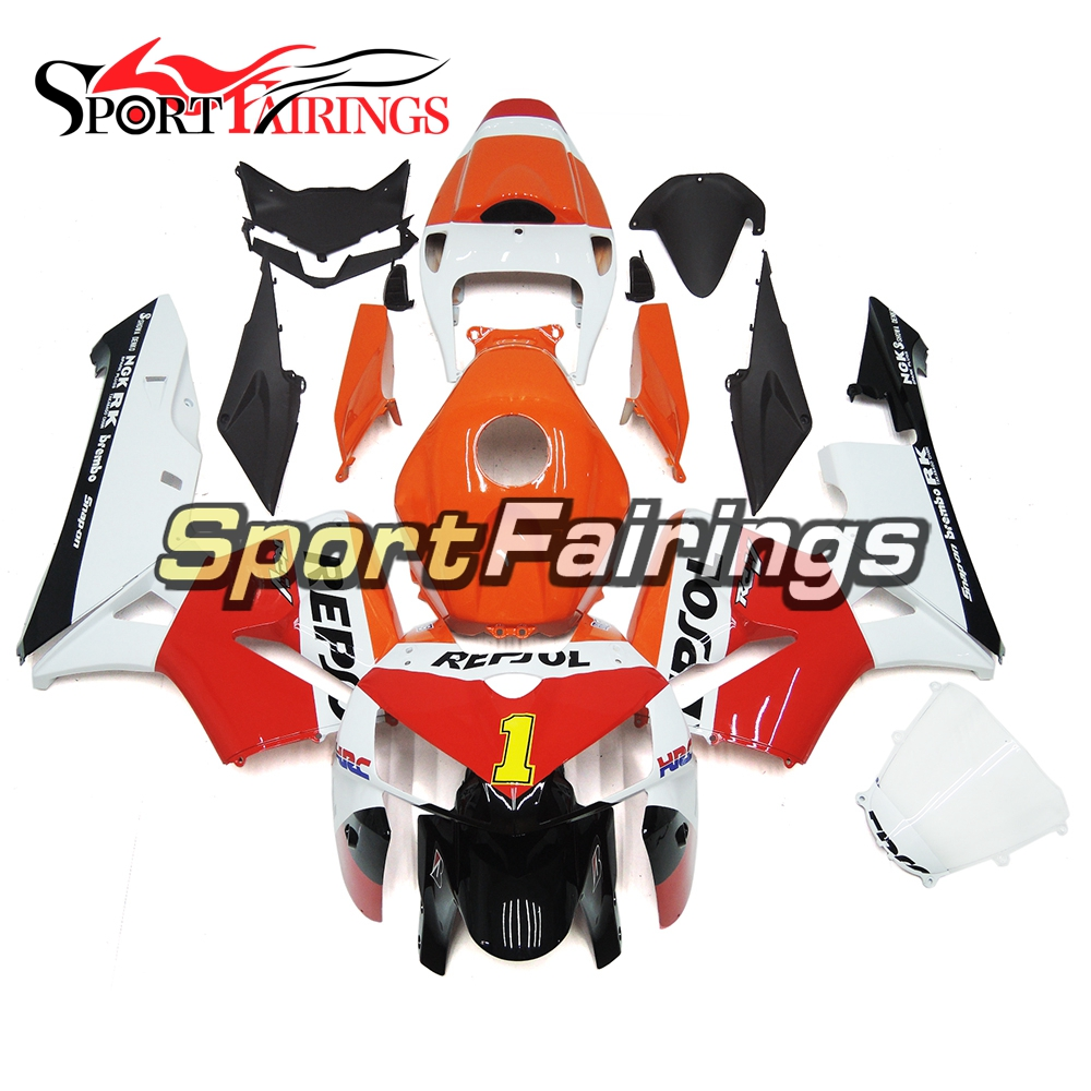 Complete Orange White Red Motorcycle Injection ABS Plastic Fairings For Honda CBR600 CBR600RR F5 05 - 06 Year 2005 2006 Bodywork