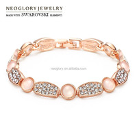 Neoglory Austria Rhinestone Glass Rose Gold Plated Bangles & Bracelets for Women Jewelry Bijoux 2015 Brand New Arrival QC