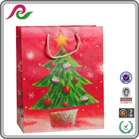 Eco-friendly Red Color Christmas Printed Paper Bag Packaging