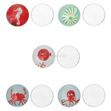 Glass Dome Cabochon Round Flatback Mixed Octopus Spiral Shell Crab Seahorse Fish Pattern 20mm Dia,50PCs