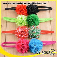 bulk two flowers satin covered fabric flower baby headbands