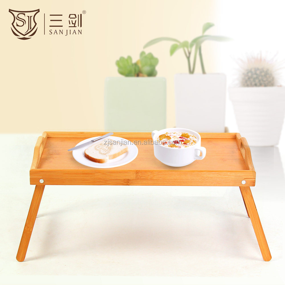 Natural environment friendly simple bamboo folding bed tray table