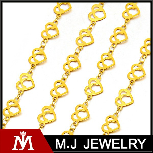 18k Gold Stainless Steel Heart Link Chain Necklace