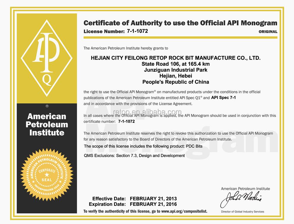Natural diamond coring bit 8 1/2 API certificated