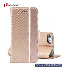 Book stand rose gold phone for iphone,make up leather cell phone case