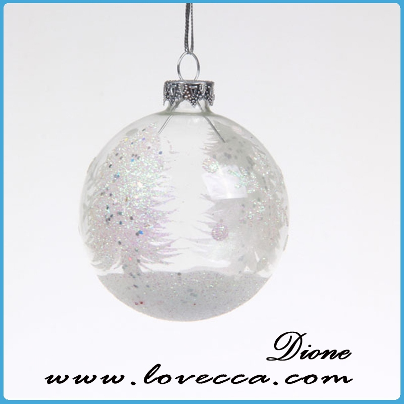 Custom printed clear glass ball christmas ornaments