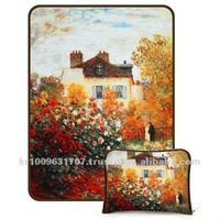 Monet's Garden At Argenteuil (a painting by Claude Monet) masterpiece Cushion blanket