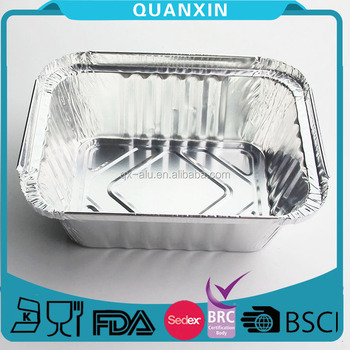 Dinnerware Aluminum Foil Disposable Food Baking Container Silver Tone