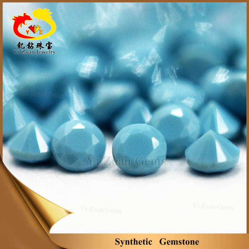 Synthetic round micro casting machine cut nano turquoise stones for sale