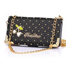 Best Selling Cherry Series Wallet Style Magnetic Stand TPU + PU Leather Case for iPhone 5 5S with Hand Chain