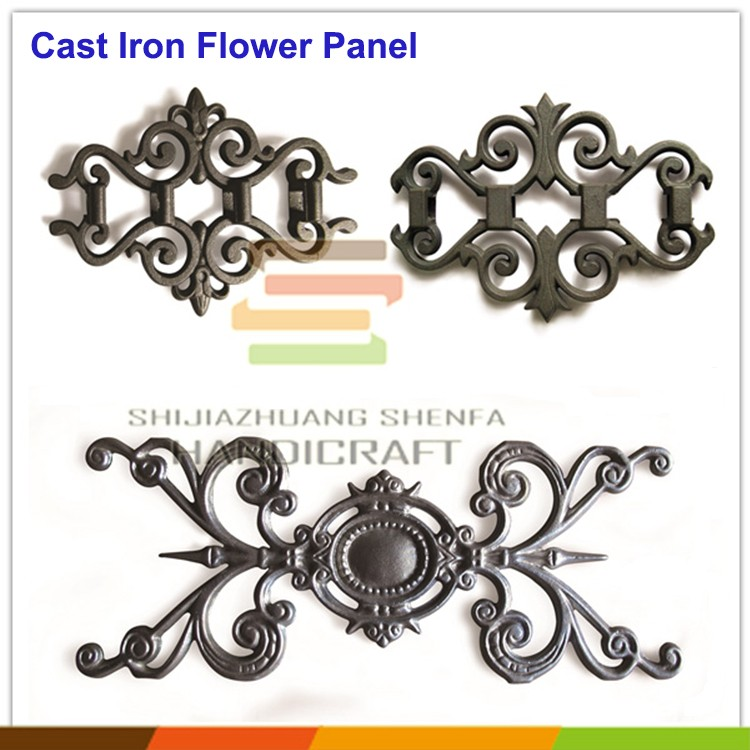 Decorative metal ornament railing outdoor wrought iron railings parts