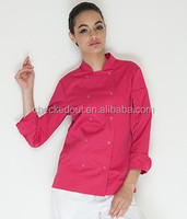 Chef jackets has a pockets with long sleeves , colourful suit female