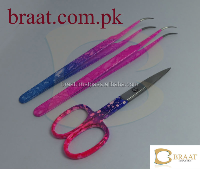 eyelash extension tweezers and scissors set / curved eyelash extension tweezers / paper coated eyelash tweezers and scissors set