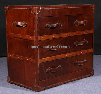 Antique leather cabinet storage trunk