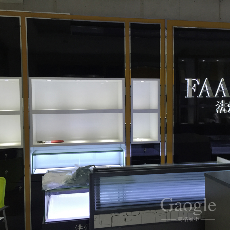 wholesale glass display cases jewelry display showcase furniture half round cash counter design with LED