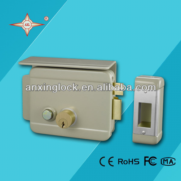 gray brass latch High quality Electric rim lock with cover plate, door lock