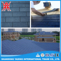 Cheap Types of Roofing Materials Blue Mosaic / Hexagonal Bitumen Shingles
