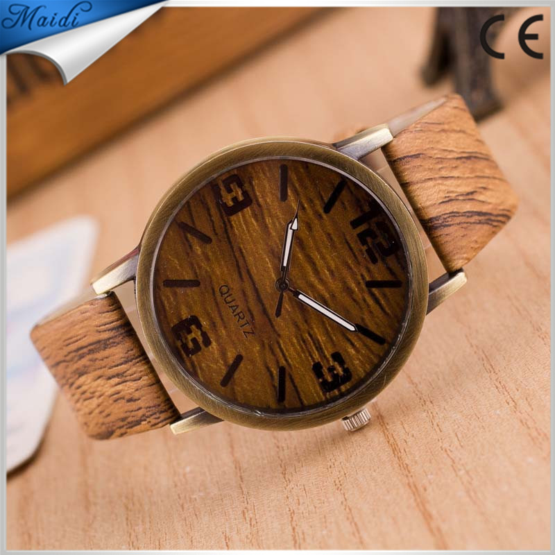 High quality Luxury Women Watch 2017 New Fashion Casual Watch Popular Style Wood Grain Print Like Analog Quartz Watch Hour LW004