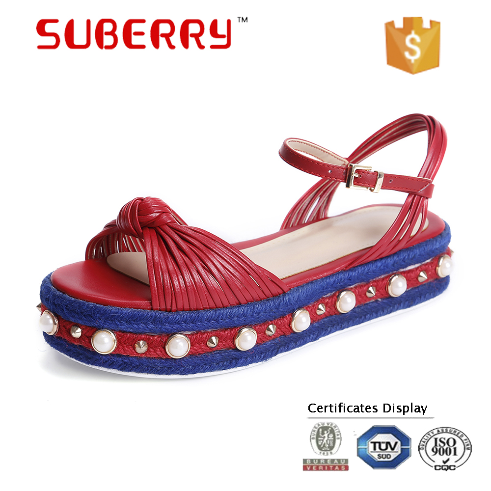 SUBERRY super high heel wedges shoes for women pearl Straw heel platform sandals 2017 summer handmade Ladies shoes big size 40