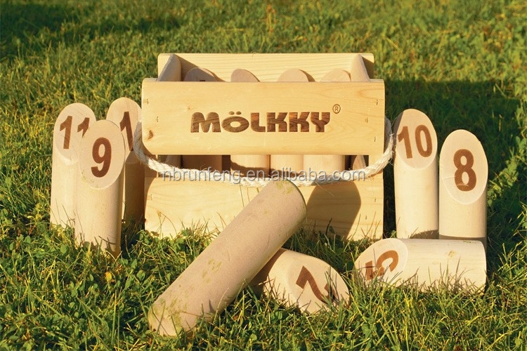 molkky ,wooden finnish skittles set, custom logo molkky set