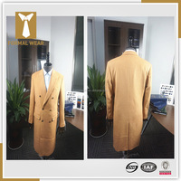 2016 New arriving Fashion design 100% cashmere double breasted six button 2 pockets camel cashmere mens long coat