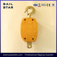 "5"" JIS Type wooden pulley single sheave with hook"