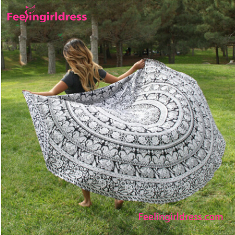 Mandala Turkish Style Multifunction Round Cotton Microfiber Beach Towel