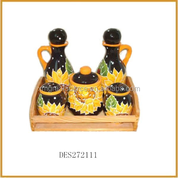 sunflower pattern ceramic oil and vinegar cruets