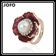 2015 Vintage Noble Wine Red Flower Pearl Rings For Women