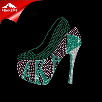 2018 AKA High Heel Rhinestone Transfers Iron On T shirt Design