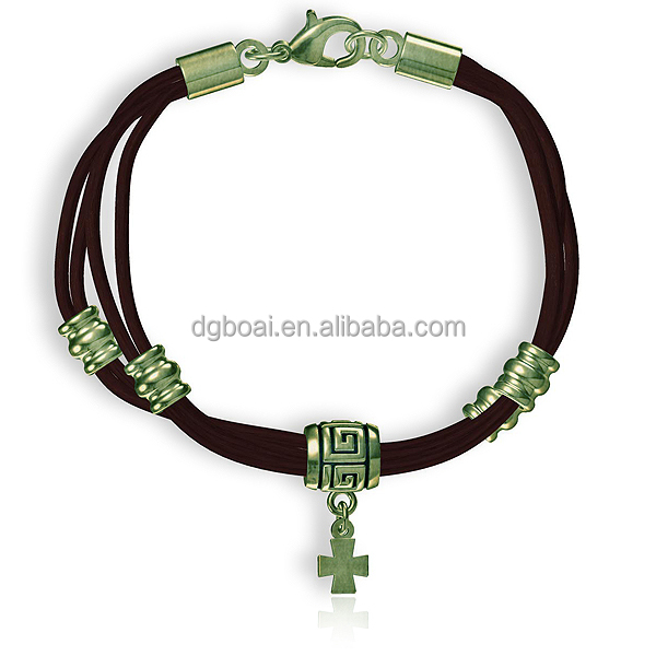 Fashion zinc alloy cross pendant charm bracelet