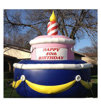 new inflatable birthday cake model with logo customized